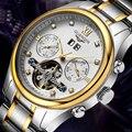 Top reloj de la marca guanqin tourbillon relojes reloj mecánico automático de acero de los hombres a prueba de agua reloj de la marca de los hombres de lujo 12 meses garantizado