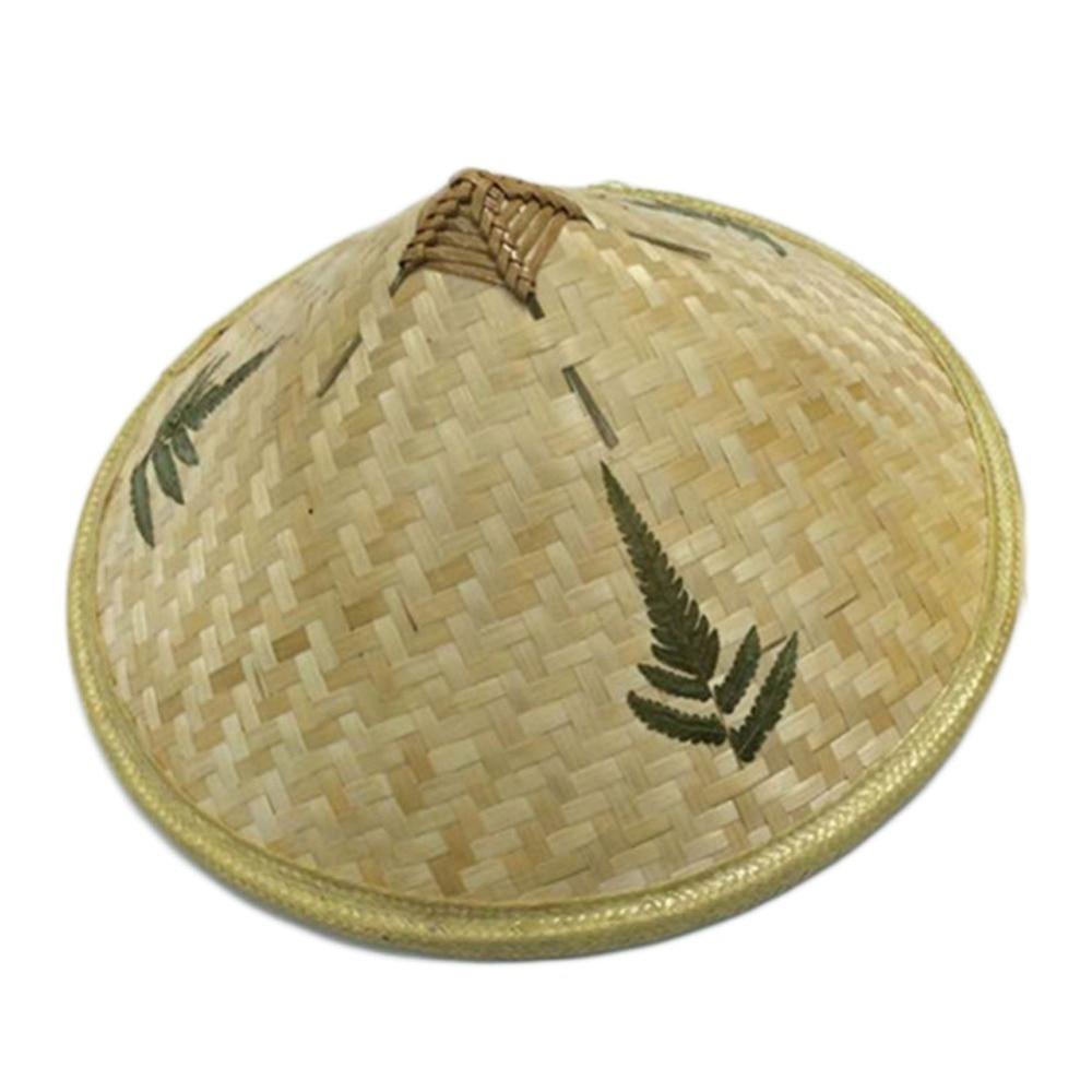 Chinese Retro Style Fisherman Hat Bamboo Rattan 36cm Dia Handmade Weave Straw Hat Tourism Rain Cap Dance Props Cone Sunshade Hat