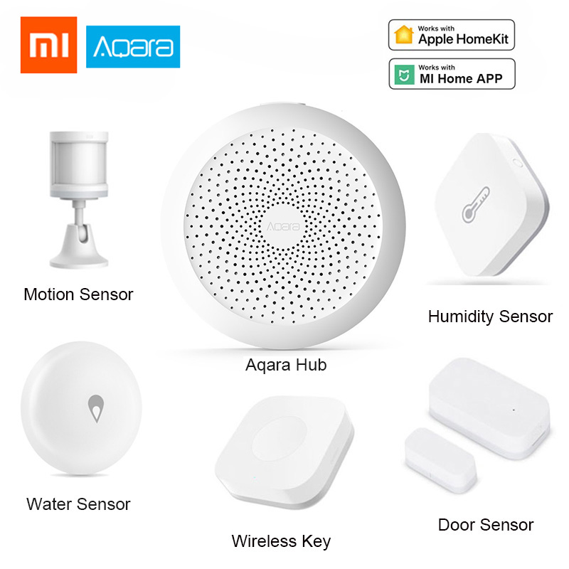 Xiaomi Aqara set Kits Casa Inteligente Gateway Hub Porta Janela Sensor de Choque Corpo Do Sensor Interruptor Sensor De Água Sem Fio para Apple homekit