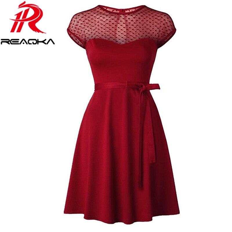 Reaqka Heart Pattern Gauze Mesh Summer Dress Patchwork Swings