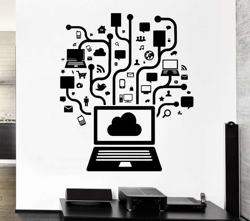 Wall Decal Computer Social Network Game Player Internet Youth PC Vinyl Wall Sticker, Internet Cafe, Game Hall Decoration YX03 image