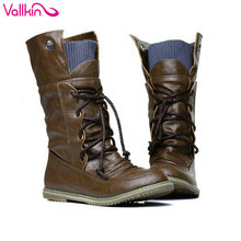 VALLKIN Size 11 12 Autumn Spring Women Fashion Boots Ladies Cool  Mid-calf Boots  Lace Up  Motorcycle Boots Winter Women Shoes