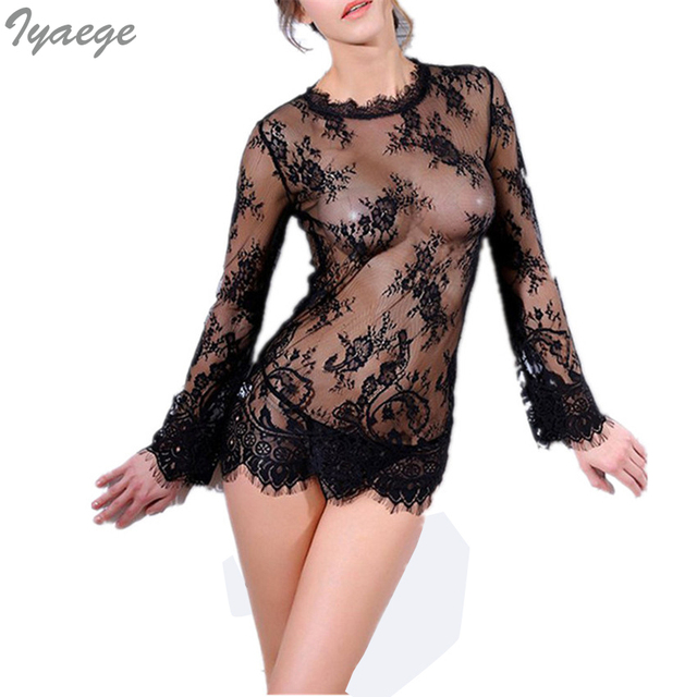 03ef2910e 1 Set Full Slips Mesh Intim Women Intimates Lace Slip + T-pants Transparent  Body Hot Slipping Slip Sexy For Ladies 2018 New