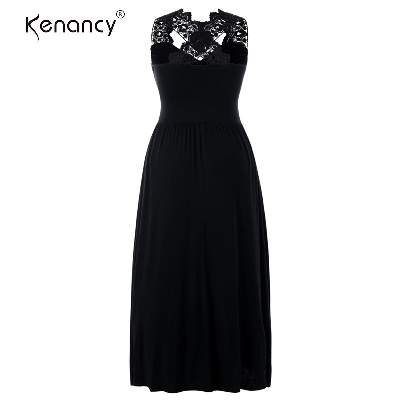 7e66bd6202 US $16.9 26% OFF|Kenancy 5XL Plus Size Embroidered Lace Insert V Neck  Sleeveless Empire Waist Maxi Dress Sexy Backless Pleated Party Long  Dress-in ...