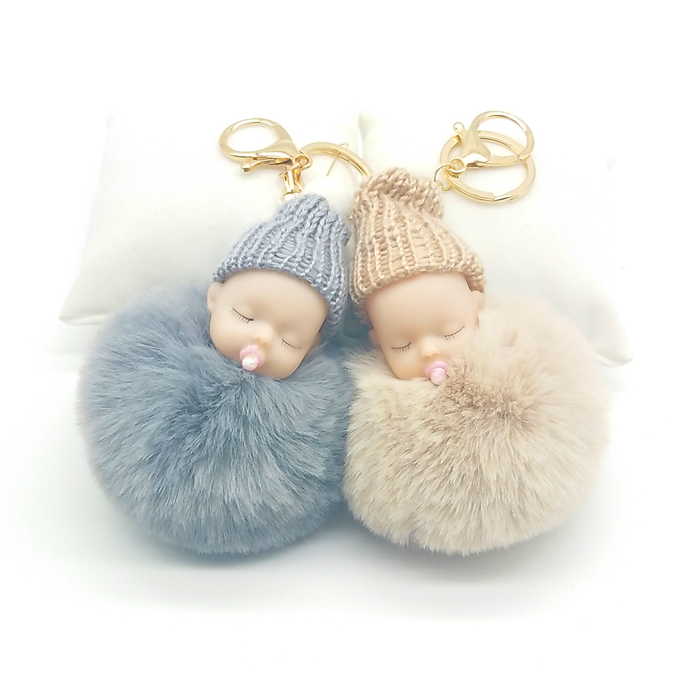 Sleeping Baby Doll Keychain Nipple Doll Pompom Keychains Fake Rabbit Fur Ball Key Chain Pendant Nipple Baby Keychain Car Keyring ...