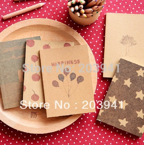 1pc/lot Vintage Paint Pattern Star Balloon Tree Cherry Notebook Paper Notepad Memo Inner Page Pocket Book Kawaii Diary