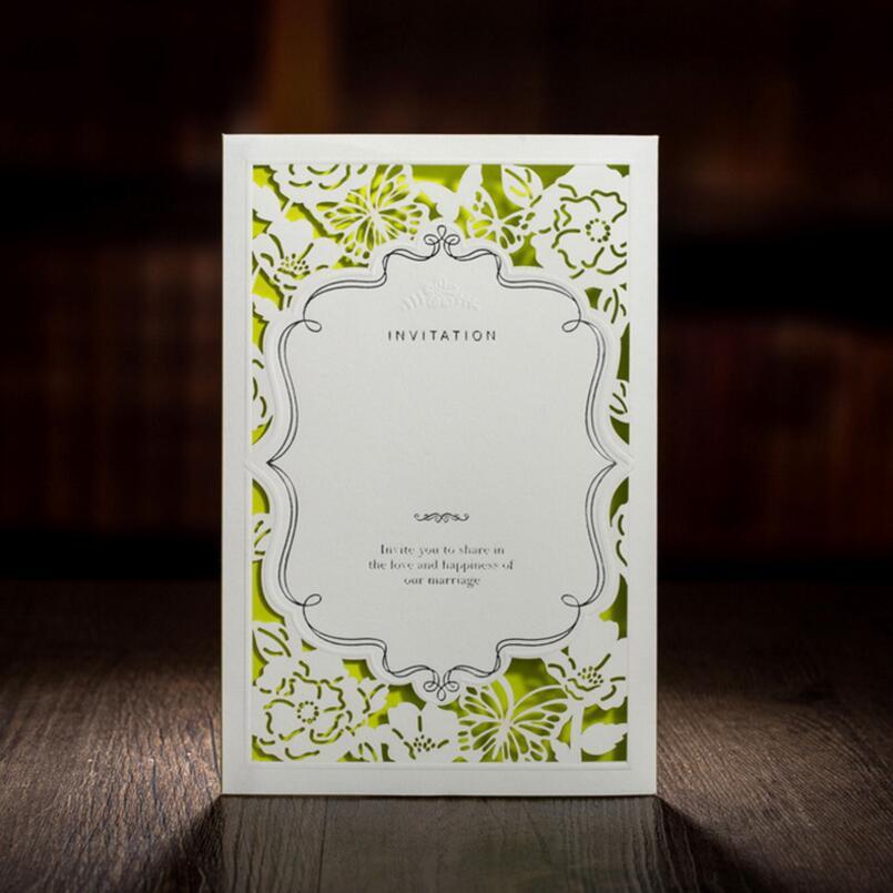 50 pcs/pack offre spéciale fête de mariage décoration papier artisanat Laser coupe carte d'invitation de mariage fête d'anniversaire carte de voeux