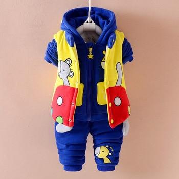 f267ec4c0 Otoño Invierno niñas caliente chaleco + sudadera + Pantalones 3 piezas  Infantil establece niños deportes traje niños ropa G104