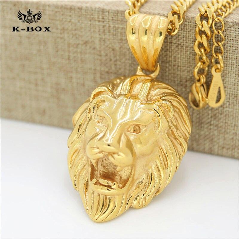 5b1648e40f083 4 Design Mens Gold Lion King Crown Head Leo 3D Animal Pendant Charm with  27.5
