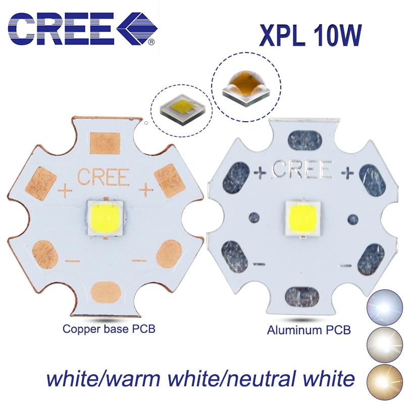 2 pcs 10 w cree xpl V6 v2 xpl-l levou emissor de luz branca 6500 k warm white 3000 K 3-3.6 V com 8mm 12mm 14mm 16mm 20 milímetros PCB