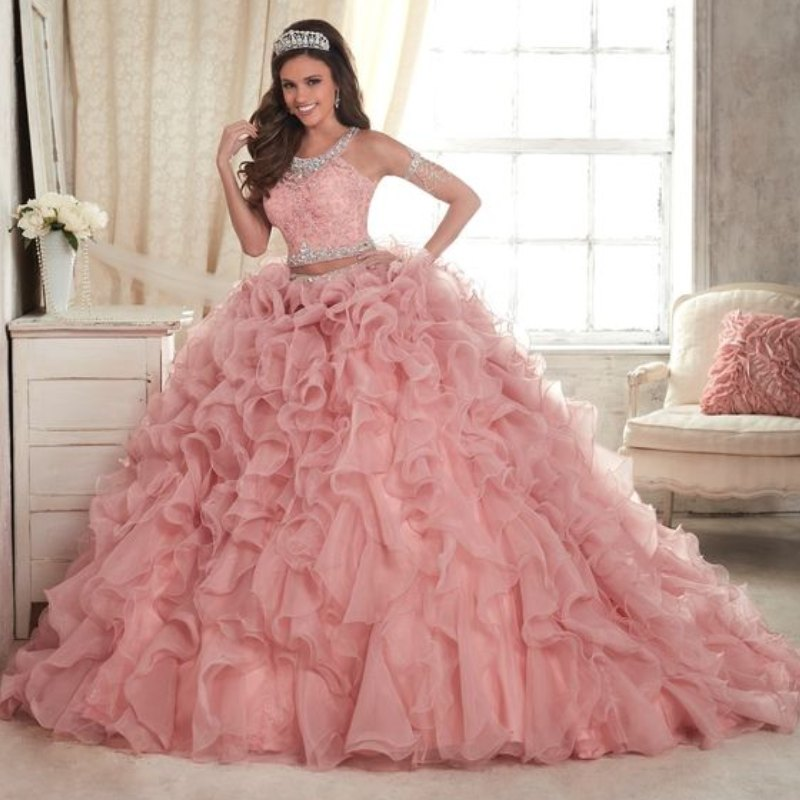 27f71ca6690 Pink 2 Piece Quinceanera Dresses 2017 Cheap Jewel Neck Applique Lace  Ruffles With Sweep Train Organza Prom Pageant Formal Dress-in Quinceanera  Dresses from ...