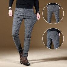 Модные высококачественные мужские брюки весна осень мужские штаны классические деловые повседневные брюки Полная длина