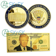 U.S. White House President Donald Trump Challenge Coins With 100 1000 USD Gold Foil Banknote Silver Gold Plated Souvenir Coin 40mm america president donald trump commemorative coin gold plated colorful metal coin with plastic case