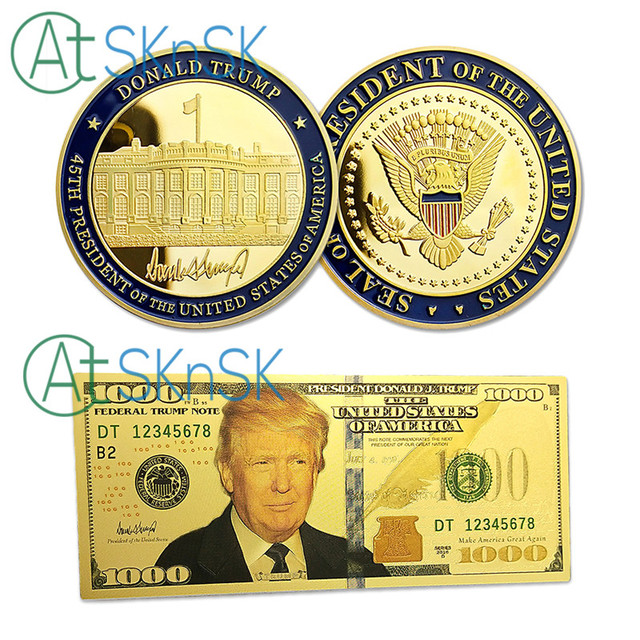 U.S. White House President Donald Trump Challenge Coins With 100 1000 USD Gold Foil Banknote Silver Gold Plated Souvenir Coin