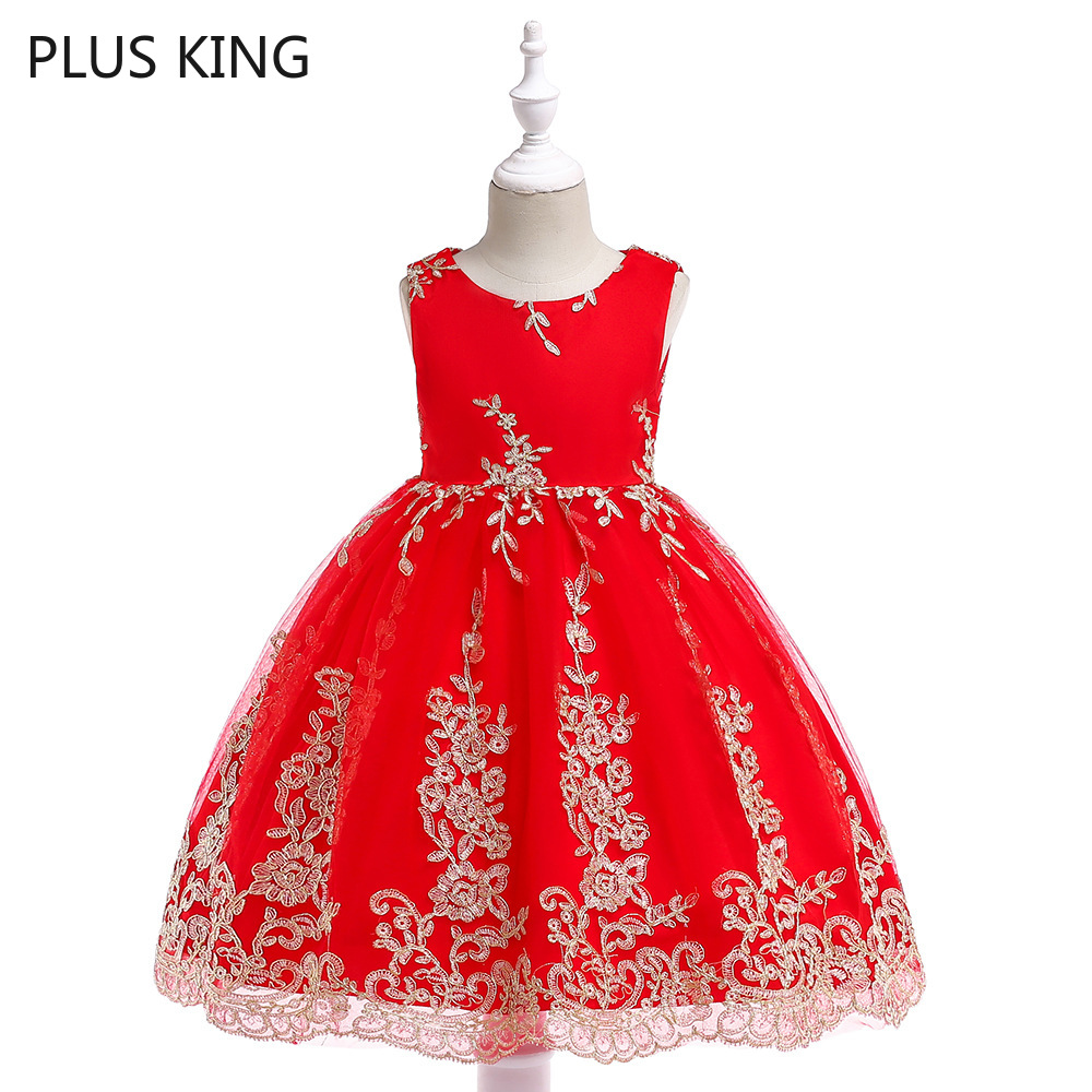 Euro and America Summer Girls Dress Gold Wire Embroidery Bownot Flower Girl Dresses Formal Red 5 Choose in Dresses from Mother Kids