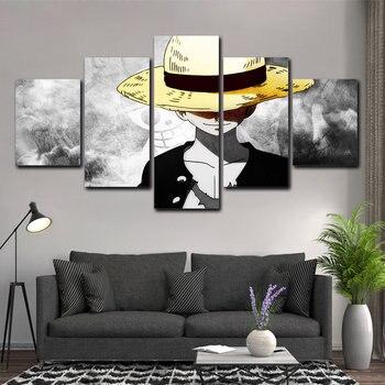 Mono de una pieza D. Póster Luffy japonés con estampado de Anime, lienzo de Arte de pared Modular de 5 uds, pintura en lienzo para sala de estar