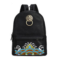 China Famous Brand Vintage Men/Women Backpack School Bags Embroidery Waterproof Laptop Back Pack Student Bagpack for Teenager