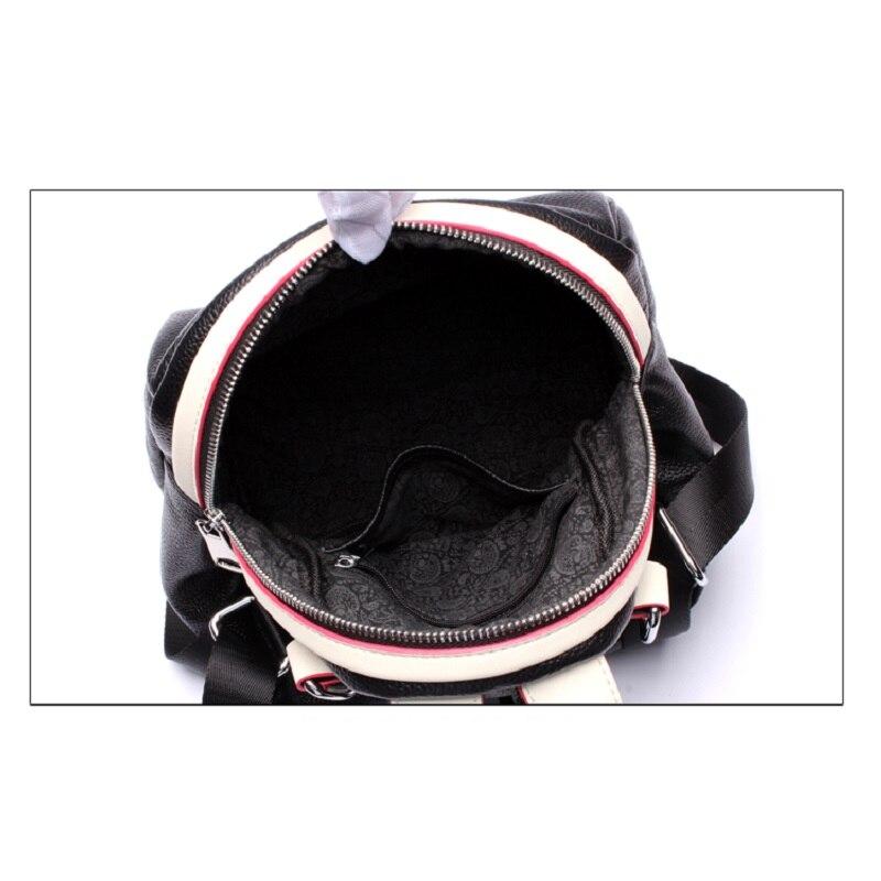 Сумки San maries с Минни Маус для девочек на ремне сумки женский рюкзак коровья кожа Мода женские рюкзаки маленький с переплетенными ремешками; популярная Красивая Цвет черный Для женщин рюкзак - 5