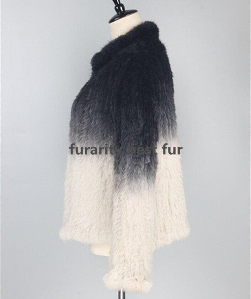 Farbverlauf Jacken grau Sf0305 Pelzmäntel Beeinträchtigen Farbe Gefärbt Dip Neu Frauen Gestrickte Top Kaninchen Beige Eingetroffen Qualität Echtpelz xFIHw