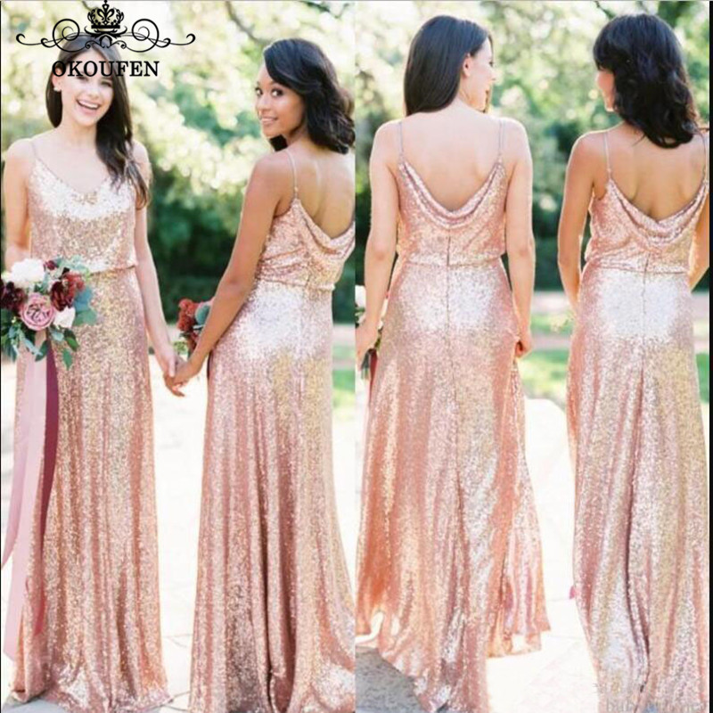 2019 Bohemia Beach   Bridesmaid     Dresses   Sexy Spaghetti Strap Bling Sequined Under 100 Long Maid Of Honor   Dress   Party For Women
