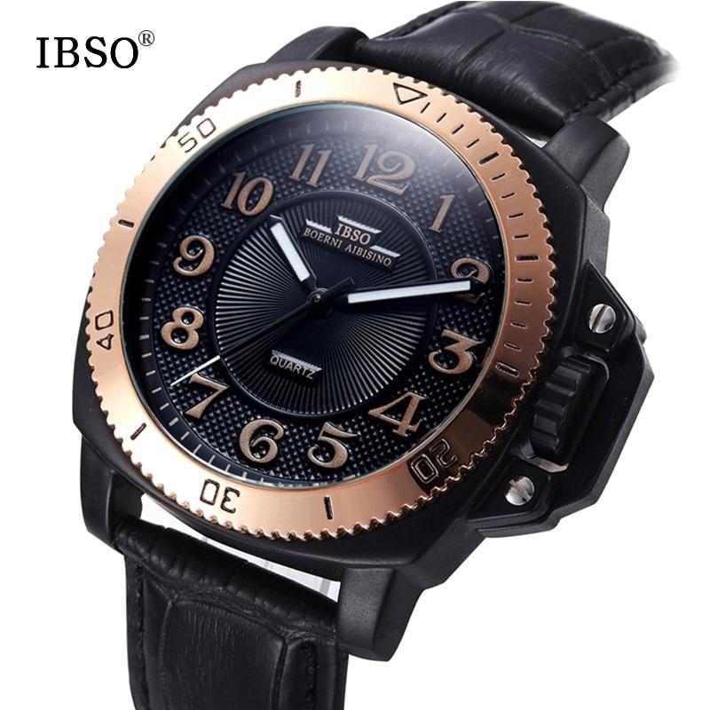 IBSO 브랜드 패션 스포츠 시계 남자 진짜 가죽 밴드 - 남성 시계 - 사진 2