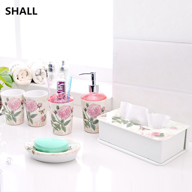 Shall High Quality 5pcs Set European Melamine Bathroom Accessories Toothbrush Holder Lotion Bottle Soap