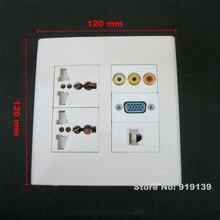 120x120mm Tamanho Grande Placa de Parede Com RCA + VGA + RJ45 + Três-prong Tomada Elétrica para Todo O Mundo Usando Tampões Para Os Ouvidos