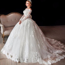 wedding dresses 2019 lace appliques court train long transparent sleeve bridal gowns cheap