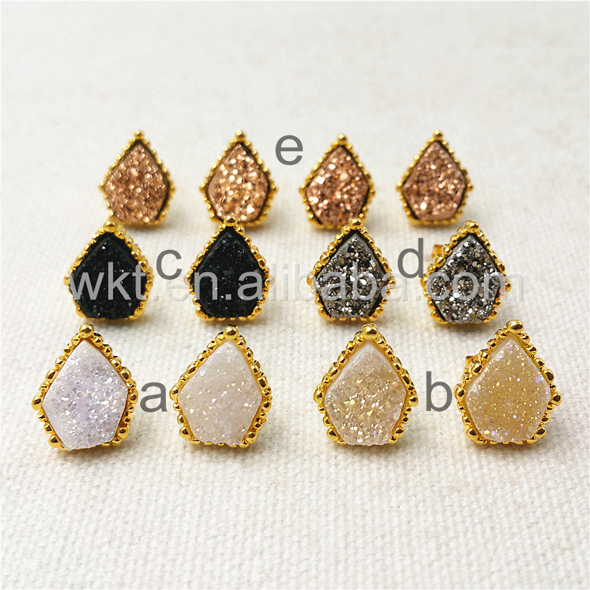 WT-E289 5pairs/lot New design gold druzy at gate Earrings for women,24k gold strim high quality color stone earrings wholesale