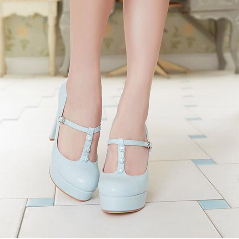 Temperament Chunky High Heels Quality Buckle Bridesmaid Platform Low Cut Uppers Lolita Breathable Thick Heel Shoes
