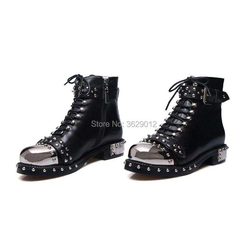 blanco Estilo Mujer Corto Negro Remache Up Mujeres Tobillo Botas Punk Motocicleta Zapatos Moda Lace OwxaAp5qa