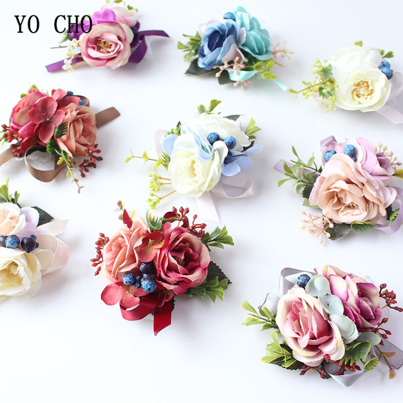 YO CHO Silk Roses Wrist Corsage Bracelets Bridesmaid White Pink Hand Flowers Wedding Boutonnieres Corsages Marriage Prom Flowers