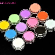 1 Lot (=12Boxes) 12 Colors Acrylic Powder Set Dust UV Gel Design 3D Tips Glitter Nail Decoration FPB100
