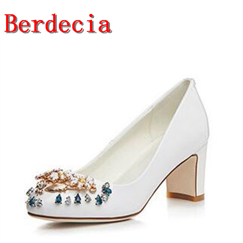 Berdecia Spring Autumn Fashion Genuine Leather Round Toe Solid Mid Heel Pumps Shallow White Metal Decoration Crystal Women Shoes