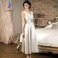 2017 Apliques de Renda Top Mãe dos Vestidos de Noiva de Cetim Do Vintage V Neck Backless Ruffles Vestido de Festa Para A Ocasião Especial