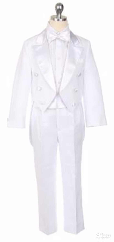 Formel garçons enfants Pinstripe simple boutonnage 3 boutons poches droites costume de fête de mariage smoking enfant Tuxedos (veste + arc + pantalon)