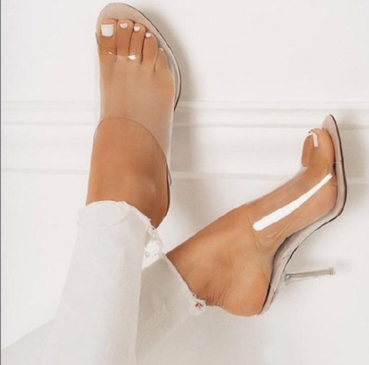 HTB1BAvzek5E3KVjSZFCq6zuzXXap Eilyken 2019 PVC Jelly Sandals Open Toe High Heels Women Transparent Perspex Slippers Shoes Heel Clear Sandals size 35-42