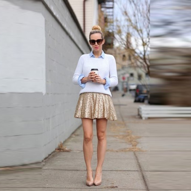 fe848ed800d Mode Street Style jupe en paillettes d or personnalisé une ligne au-dessus  du