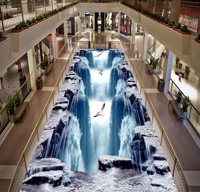 Custom 3d Floor Waterfall Wallpapers For Living Room 3d Floor Painting Self Adhesive Floor 3d Wall Murals Wallpaper