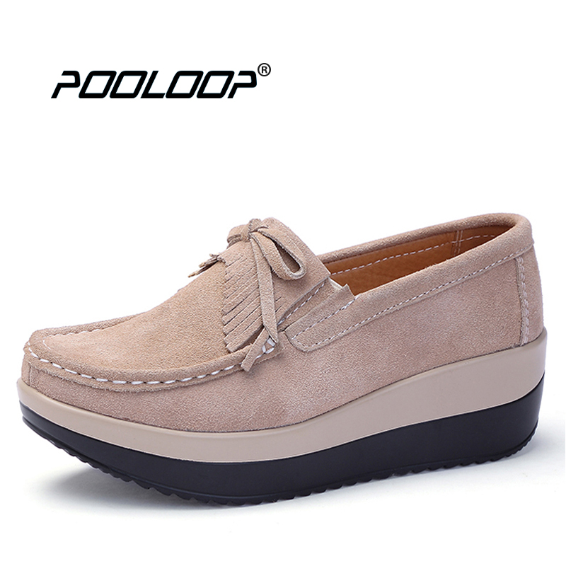 a901e4d540 POOLOOP Big Size Women Casual Ballet Flats Slip On Soft Leather Shoes  Ladies Fashion Designer Shoes ...