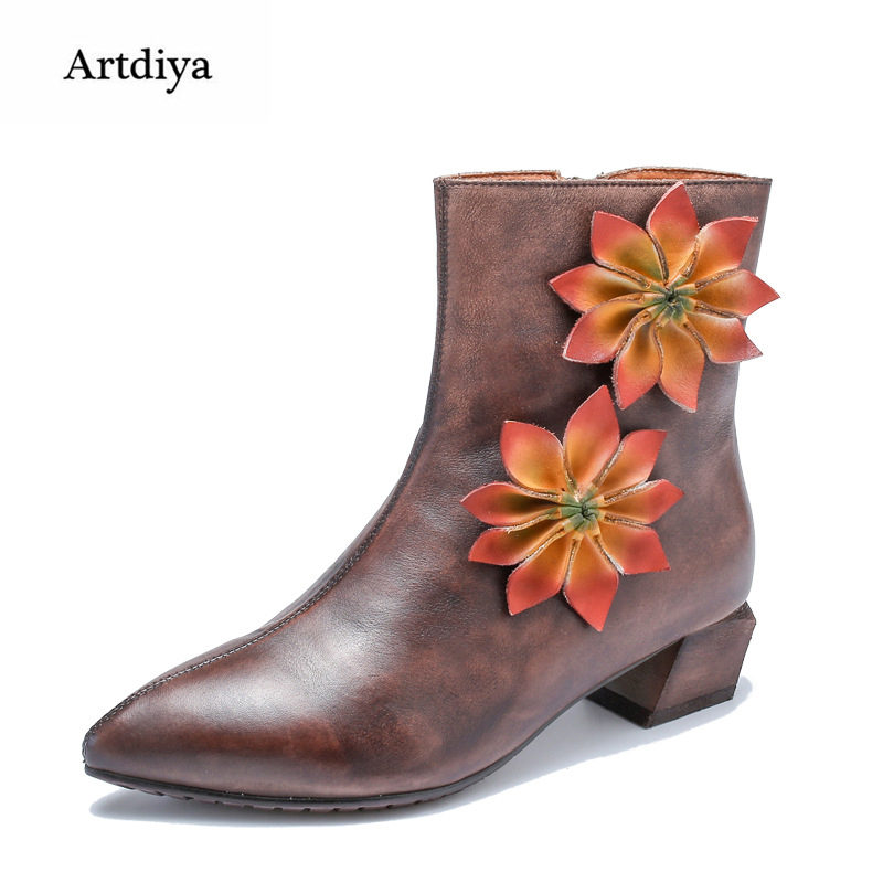 Artdiya Original Retro Folk Style Genuine Leather Women Boots 2018 Autumn and Winter New Ankle Boots Flowers Handmade T58505-10 цены онлайн