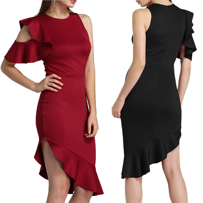 Summer Women Sexy Dress Off Shoulder Ruffles Irregular Lady Party Bodycon Dresses FS99