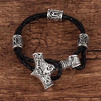 41364cd39e82 1 pc de los hombres pulsera de Viking Thor Hammer pulsera de cuero Mjolnir  vikingo runas cuentas amuleto pulsera joyería regalos
