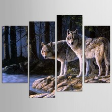 4 Pcs/Set Animal Wall Art Home Decoration Modern River Wolf in Forest Canvas Print Painting  недорго, оригинальная цена