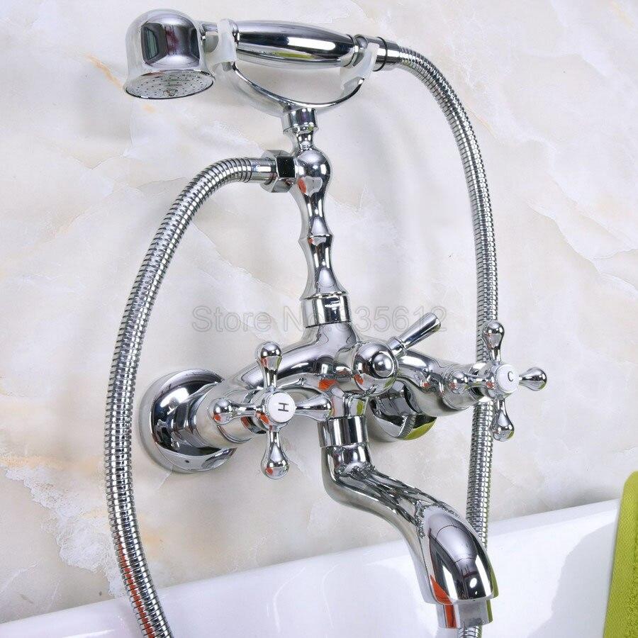 Polished Chrome Wall Mount Bathtub Tub Mixers Dual Handles Bathroom ...