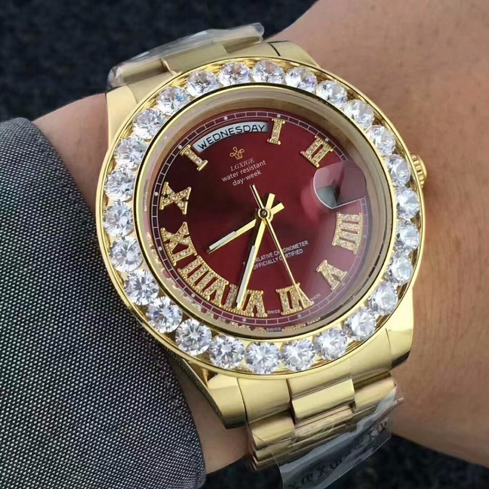 Big Diamond Luxury Brand Gold Watch Men Stainless Steel Day-date Men's WristWatch President Top Male Clock For Relogio Masculino