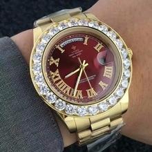 cd68937de7b Big Diamond Luxury Brand Gold Watch Men Stainless Steel day-date Men s  WristWatch President Top