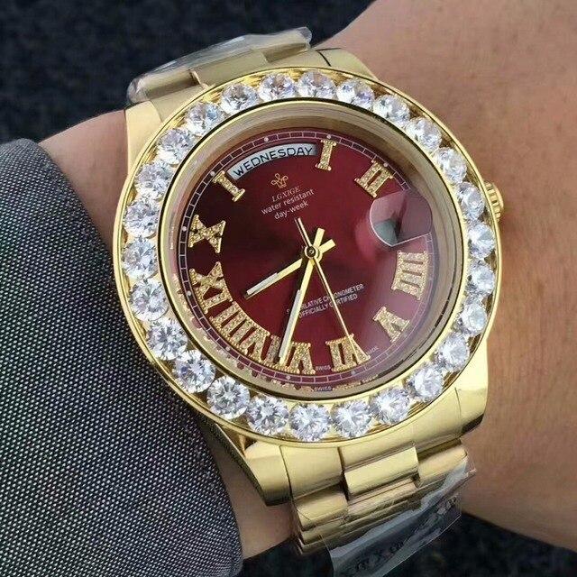 14a57a25d7 Grande Diamante Relógio De Ouro Dos Homens de Aço Inoxidável Marca de Luxo  day-date