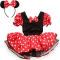 2017 Kids Gift Minnie Mouse Party Fancy Costume Cosplay Girls Ballet Tutu Dress+Ear Headband Girls Polka Dot christmas Dresses