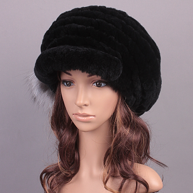 ФОТО Fur Hats Caps Knitted Rex Rabbit Fur Fluffy Ball Design Hat Girls Caps For Women Women 2016 New Russian Winter Hat Visors